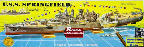 REVELL Renwal Models 1:500 USS Springfield Guided Missile Cruiser - 85-0602