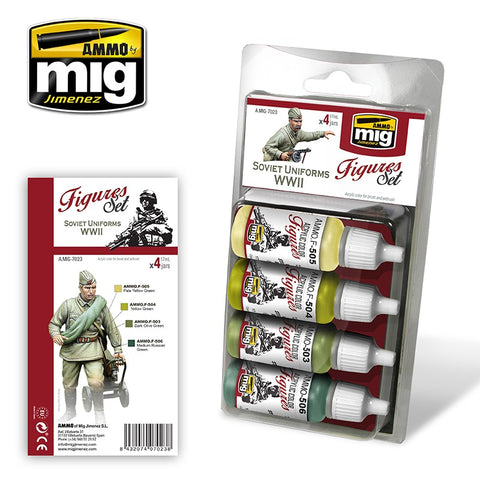 Ammo Mig Jimenez 4 jars 17mL each SOVIET UNIFORMS WWII Acrylics - AMIG7023
