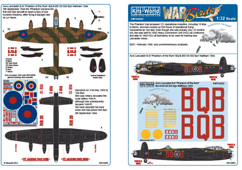 Kits-World 1/32 decals Avro Lancaster B.III Phantom of the Ruhr HK Models 132052