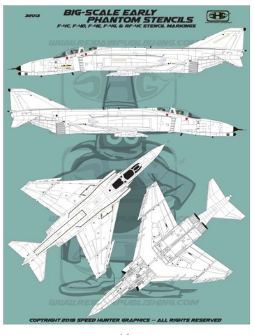Speed Hunter Graphics 1/32 scale decals Big-Scale Early Phantom stencils - 32013