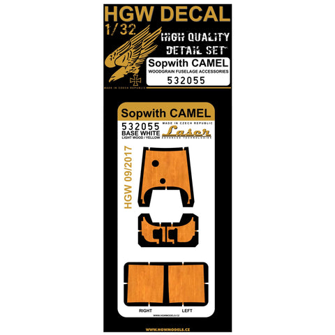 HGW 1/32 Light Wood fuselage decals for Sopwith Camel for Wingnut Wings 532055