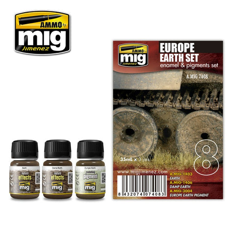 Ammo Mig Jimenez 3 jars 35mL each EUROPE EARTH TONES WEATHERING SET - AMIG7408