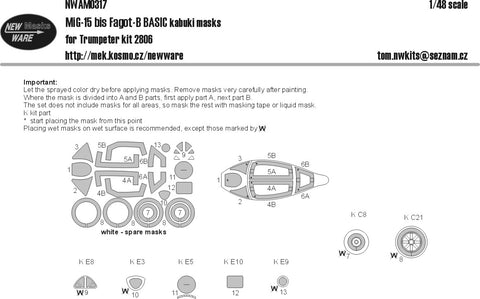 New Ware 1/48 scale MiG-15bis Fagot-B BASIC paint masks for Trumpeter - NWAM0317