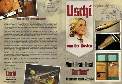 Uschi 1/72 thru 1/24 scale Knotless Woodgrain decals for Wingnut Wings #1004