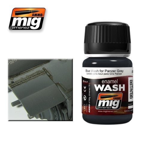Blue Wash for Panzer Grey - 35ml jar - A.MIG-1006 Ammo Mig Jimenez