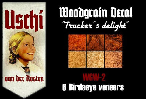 Trucker's Delight Interior Wood Grain - Uschi Decals for 1/25 Model Trucks #1009