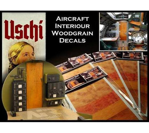 Uschi 1/48 1/32 scale wood decals - Aircraft Interior Texture for B-17 & P-51 -