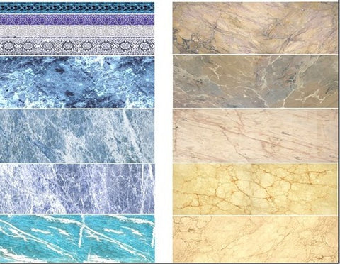 Uschi Multi scale marble decals Blue/Beige for flooring, buildings & other diora