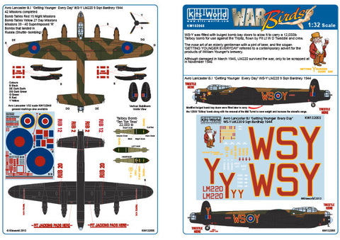 Kits-World 1/32 decals for Avro Lancaster B.I/III for HK Models - 132055