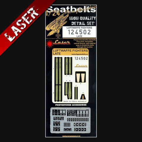 HGW 1/24 Laser cut seatbelts for Luftwaffe Fighters (late) #124502