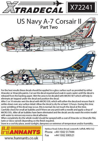 XtraDecal 1/72 Colorful USN Corsairs Vought A-7B/E Corsair II Pt 2 - X72241