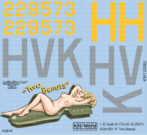 Kits-World decals 1/32 Boeing B-17F featuring Two Beauts - KW132082