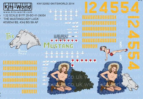 Kits-World decals 1/32 Boeing B-17F - The Mustang & Lady Luck - KW132092