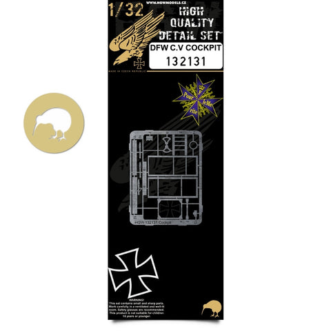 HGW 1/32 PE & wood decals for DFW C.V Cockpit for Wingnut Wings kit -132131