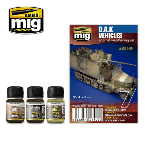 Ammo Mig Jimenez 3 jars 35mL each DAK WEATHERING SET - AMIG7406 North Africa