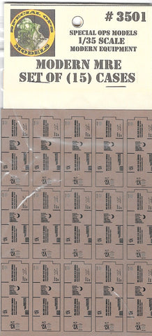 Special Ops 1/35 Modern Equipment MRE set of 15 cases needs assembly