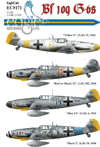 EagleCals 1/32 water slide decal #171-32 for Bf 109 G-6s