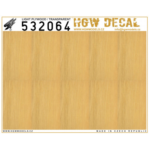 HGW 1/32 scale decals - Light Plywood - Transparent (NO GRID) - 532064
