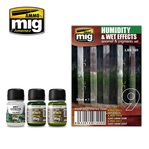 Ammo Mig Jimenez 3 jars 35mL each HUMIDITY AND WET EFFECTS ENAMEL SET - AMIG7409
