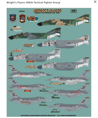 SpeedHunterGraphics 1/48 decals Wright's Flyers 906th Tactical Fighter Grp 48022