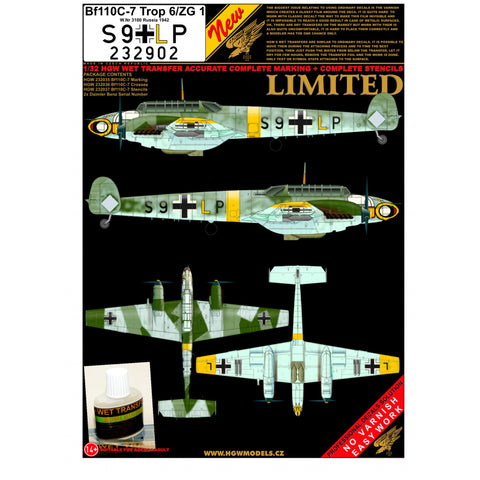 HGW 1/32 wet transfers set for the Bf 110C-7 S9+LP by Dragon/ Revell - 232902