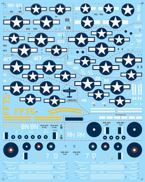 Fundekals 1/48 scale decals for F4U Corsairs aircraft kits - FUN48005