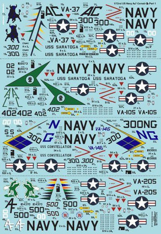 XtraDecal 1/72 Colorful USN Corsairs Vought A-7B/E Corsair II Pt 1 - X72240
