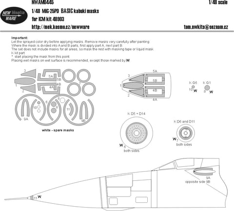 New Ware 1/48 scale MiG-25PD BASIC paint masks for ICM kit 48903 - NWAM0445