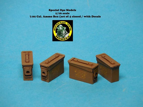 Special Ops 1/16 Modern Equipment Miniature 7.62 Cal Ammo Boxes closed w/decals
