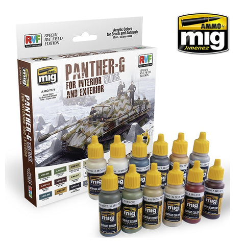 AMMO by MiG Jimenez PANTHER-G Acrylic Colors Set Interior and Exterior AMIG-7174