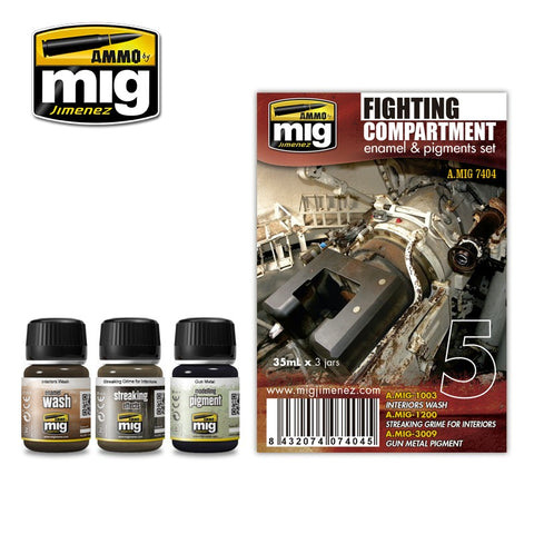 Ammo Mig Jimenez 3 jars 35mL each FIGHTING COMPARTMENT WEATHERING SET - AMIG7404