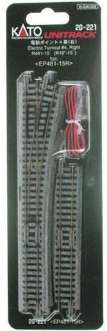 Kato #20-221 N-Gauge #4 Electric (Remote) Turnout - Unitrack Right-Hand