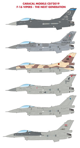 Caracal Models 1/72 decals CD72019 F-16 Vipers The Next Generation for HSG & TMY