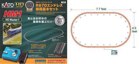 Kato 3-105 HO Scale H-1 Track Set with Power Pack
