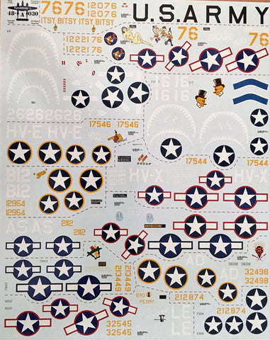 Fundekals 1/48 decals P-38E/F/G/H Lightning for Tamiya - 48030