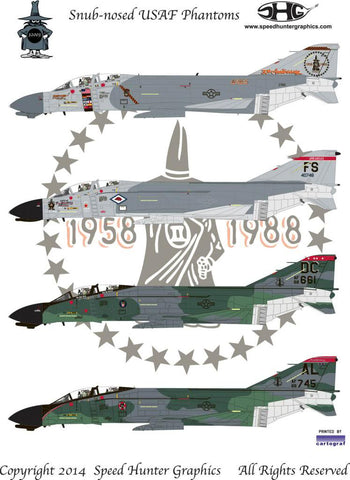 Speed Hunter Graphics SHG32003 1/32 decal F-4C & D Snub-nosed Phantoms