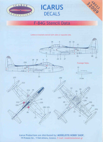 Icarus 1/32 decal Republic F-84G Thunderjet Stencil Data - #32009