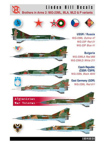 Linden Hill 1/32 decal LHD32012 Brothers in Arms 2 Mikoyan MiG-23MLs Trumpeter
