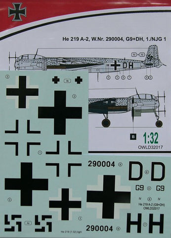 Owl Decals 1/32 He 219 A-2, W.Nr. 290004, G9+DH, 1./NJG 1 - OWLD32017
