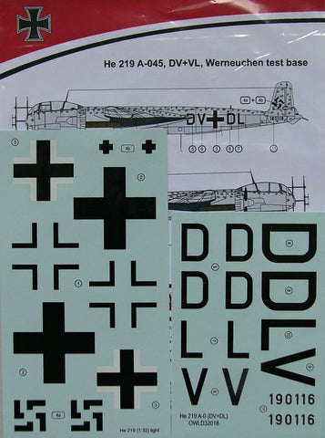 Owl Decals 1/32 He 219 A-045, DV+VL, Werneuchen test base - OWLD32018