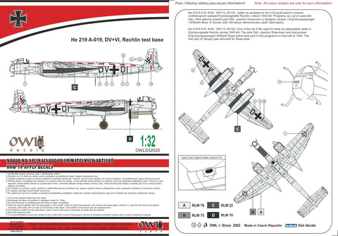 Owl Decals 1/32 He 219 A-019, DV+VI, Rechlin test base - OWLD32020