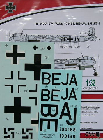 Owl Decals 1/32 He 219 A-074, W.Nr. 190188, BE+JA - OWLD32022