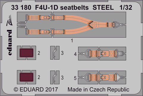 Eduard 1/32 Zoom Photoetched F4U-1D seatbelts STEEL for Tamiya kit - 33180