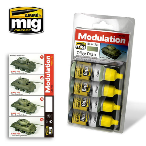 Ammo Mig Jimenez 4 jars 17mL each OLIVE DRAB Modulation Acrylics set - AMIG7003