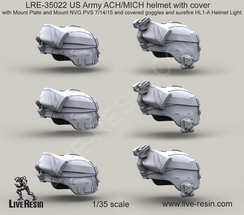 Live Resin 1/35 US ARMY ACH/MICH helmet w/cover - LRE35022