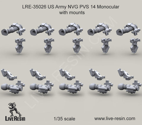 Live Resin 1/35 US Army NVG PVS 14 Monocular with mounts #LRE35026