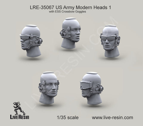 Live Resin 1/35 US Army Modern Heads w/ESS Crossbow Goggles - LRE35067