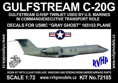 RVHP 1/72 Gulfstream C-20G Twin Jet Gray Ghost 165153 USMC - RVH-72105