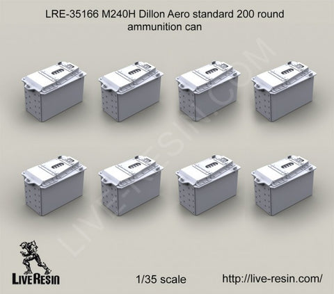 Live Resin 1/35 M240H Dillon Aero Std 200 Round Ammunition Can Set - LRE35166