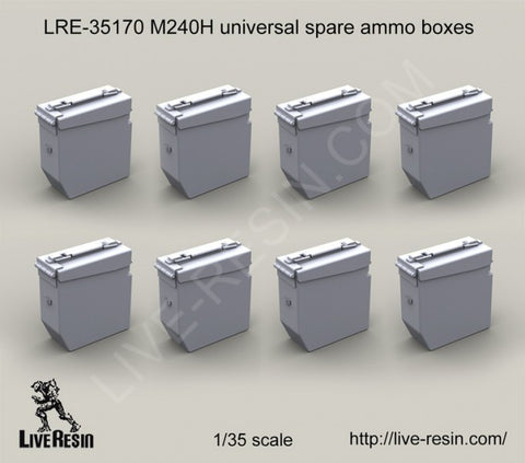 Live Resin 1/35 resin  M240H universal spare ammo boxes (x8) - LRE35170